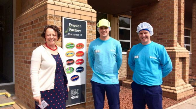 Local MP has sweet visit to Nestlé Fawdon