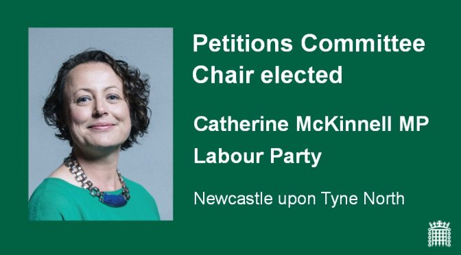 Catherine elected chair of Parliament's Petitions Committee